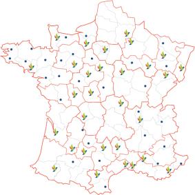 carte de France montrant les 60 agences Présence Verte